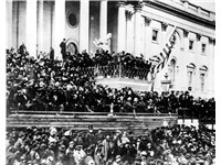 The only known photographs of Lincoln giving a speech were taken as he delivered his second inaugura