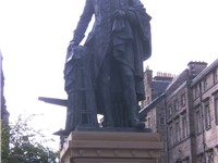A statue of Adam Smith on Edinburgh's Royal Mile built through private donations and organised by th