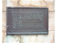 The bronze plaque on the monument to Camus, built in the small town of Villeblevin, France. The plaq