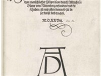 Title page of Vier B cher von menschlicher Proportion showing the monogram signature of Albrecht D r