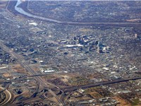 Aerial photo of Albuquerque as seen from I-40 and I-25 interchange northeast of downtown area. Rio G