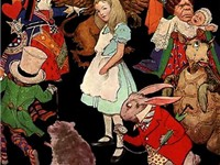 Peter Newell's illustration of Alice surrounded by the characters of Wonderland. (1890)