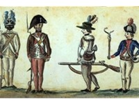 This 1780 drawing of American soldiers from the Yorktown campaign shows a black infantryman from the