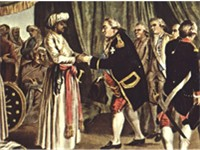 Suffren meeting with ally Hyder Ali in 1783. J.B. Morret engraving, 1789