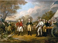 """The surrender at Saratoga"" shows General Daniel Morgan in front of a French de Valli re 4-pounder."