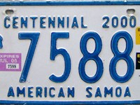 The current territorial license plate design, introduced in 1999.