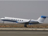 Amgen's corporate Gulfstream V departs Fox Field, Lancaster, California