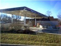 An abandoned Amoco station.