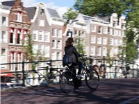 A bicyclist crossing a bridge over the Leidsegracht.