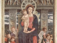 The Virgin Mary in Andrea Mantegna's San Zeno Altarpiece combines pseudo-Arabic halos and garment he