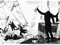 1833 Democratic cartoon shows Jackson destroying the devil's Bank.