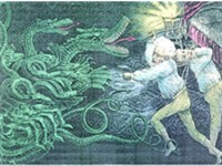 "Democratic cartoon shows Jackson fighting the monster Bank. ""The Bank,"" Jackson told Martin Van Bure"