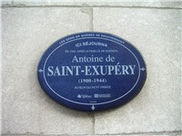 Historical marker on the home where Saint Exup ry lived in Quebec.