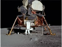 Aldrin unpacks experiments from the LM, named Eagle.