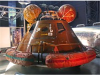 "Boilerplate Apollo command module depicting the ""Apollo 11 Command Module, named Columbia. Displayed"