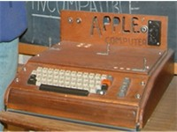 The Apple I, Apple's first product. Sold as an assembled circuit board, it lacked basic features suc