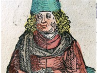 Aristotle portrayed in the 1493 Nuremberg Chronicle as a 15th-century-A.D. scholar
