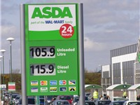 An Asda Petrol Station sign in Great Yarmouth, Norfolk