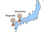 Map showing the locations of Hiroshima and Nagasaki, Japan where the two atomic weapons were employe