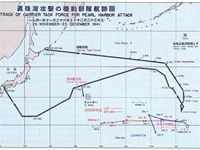 Route followed by the Japanese fleet to Pearl Harbor and back