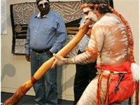 Performance of Aboriginal song and dance in the Australian National Maritime Museum in Sydney