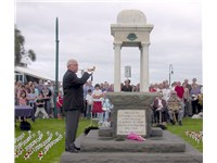 The Last Post is played at an ANZAC Day ceremony in Port Melbourne, Victoria. Similar ceremonies are