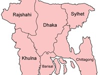 Administrative divisions of Bangladesh. This map shows the highest level unit called a Division.