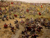 The clash between Richard's and Henry's armies as depicted by Bosworth Battlefield Heritage Centre