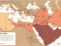 "The ""Age of the Caliphs,"" showing Umayyad dominance stretching from the Middle East to the Iberian p"
