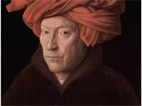 Portrait of a Man in a Turban (oil on board, c. 1433) by Jan van Eyck, in National Gallery, London.