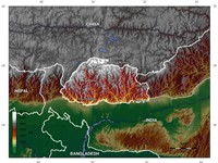 Topographic map of Bhutan