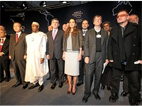 Gates (second from right) with Bono, Queen Rania of Jordan, British Prime Minister Gordon Brown, Pre