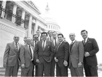 Bill Richardson (center), as the chairman of the Congressional Hispanic Caucus, circa 1984.