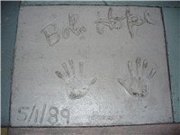 The handprints of Bob Hope in front of The Great Movie Ride at Walt Disney World's Disney's Hollywoo