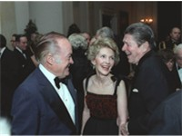 Hope (left) with President and Mrs. Ronald Reagan in 1981