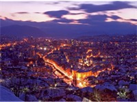 Sarajevo, the capital and the largest city in Bosnia and Herzegovina.