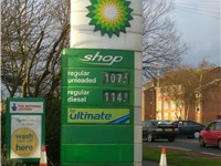 A BP Petrol prices sign outside a BP Shop garage in the United Kingdom (prices in UK pence per litre