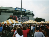The scene outside the Giants Stadium parking lot for banner-marked, record-setting, 10-night stand o