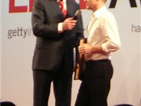 Adams accepting a LeadAward for photography in 2006.