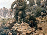 Bulgarians overrun a Turkish position at bayonet-point during the First Balkan War of 1912-1913, Pai
