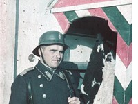 A Bulgarian sentry at his post, Sofia, 1942