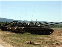 T-72 tanks from Sliven tank brigade prepare for a joint exercise with the USMC, May 2009
