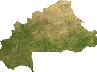 Satellite image of Burkina Faso, generated from raster graphics data supplied by The Map Library