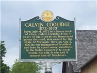 Historical marker located at the birthplace of Calvin Coolidge