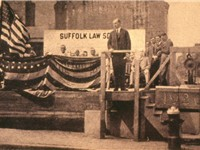 Governor Coolidge, laying the cornerstone at Suffolk Law School in Boston in August of 1920.