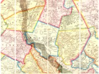 1852 Map of Boston area showing Cambridge and rail lines.