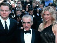 Cameron Diaz on the red carpet of the 2002 Cannes Film Festival with Martin Scorsese and Leonardo Di