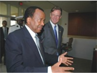 President Paul Biya of Cameroon and Ambassador R. Niels Marquardt of the United States, 16 February