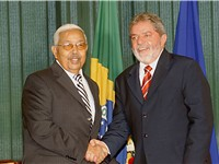 Current president of Cape Verde, Pedro Pires, meeting with Brazilian president Lula da Silva.