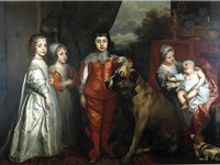 Five children of King Charles I of England (1637) by Anthony van Dyck, featuring a spaniel of the er